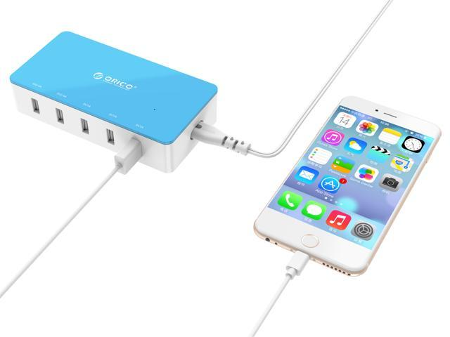 Electrical 5 Port Desktop USB Charger ( with 2 Prong Power Cord ) All-in-One Charger  30W power output for Tablet iPhone 7/ 6s/ Plus/, iPad Air, Galaxy, Note 2/ 3, HTC, Nexus 30W Max -  Blue (CSH-5U)