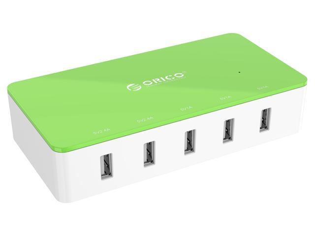 Orico Electrical 5 Port Desktop USB Charger ( with 2 Prong Power Cord ) All-in-One Charger  30W power output for Tablet iPhone 7/ 6s/ Plus/, iPad Air, Galaxy, Note 2/ 3, HTC, Nexus - Green (CSH-5U)