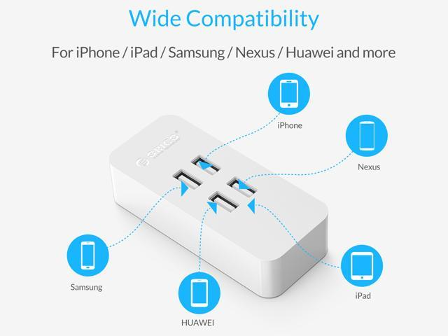 ORICO 4-Port Mini Desk USB Charger with Fast Charging Technology for iPhone 7/7Puls/6S/6S P/5SE/ iPad/LG/Samsung/HTC - White ( DCV-4U )