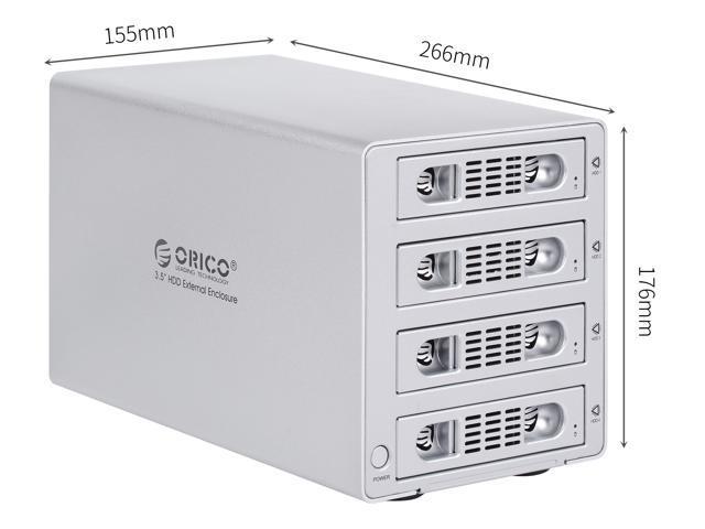 (WITHOUT RAID)ORICO Aluminum 3.5 inch 4 BAY USB 3.0 & eSATA SATA Hard Drive HDD Enclosure Tool Free UP to 6TB for Windows, Vista,XP or Mac OS 9.1 -Silver  (3549SUSJ3-US)