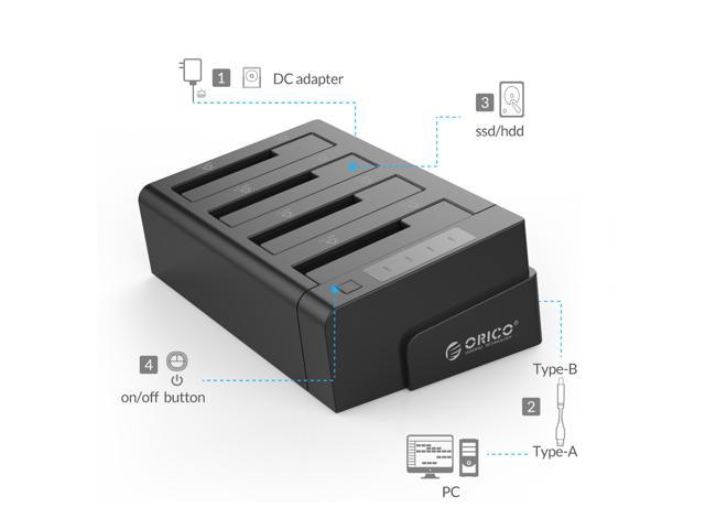 ORICO 4 Bay USB 3.0 SATA Hard Drive Docking Station/Duplicator for 2.5 inch & 3.5 inch HDD -Black (6648US3-C-V1)