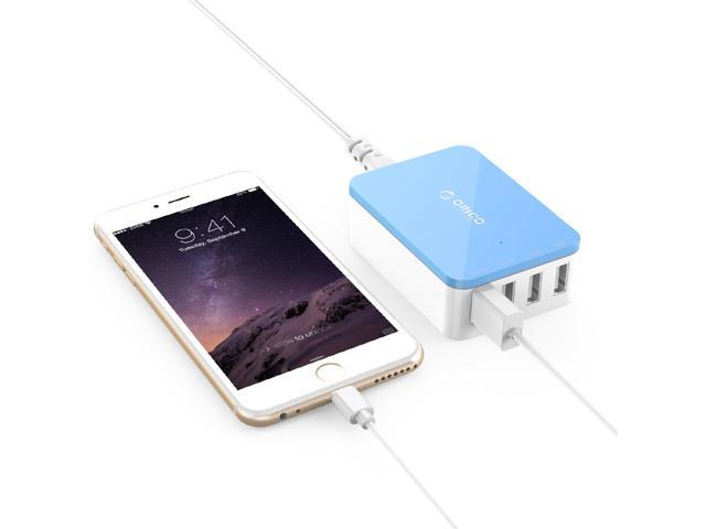 ORICO 20W 4 Port Family-Sized Desktop USB Charger with 2 Prong Power Cord for iPhone 6 6 Plus 5 5C 5S, iPad Air Mini, Galaxy S4 S5, Note 2 3, HTC One (M8), Nexus and More - Blue