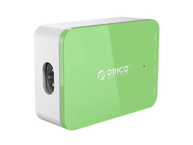 ORICO CSI-4U 20W 4-Port Family-sized Desktop USB Charger with 2 Prong Power Cord for iPhone 6 6 Plus 5 5C 5S, iPad Air Mini, Galaxy S4 S5, Note 2 3, HTC One (M8), Nexus and More - Green