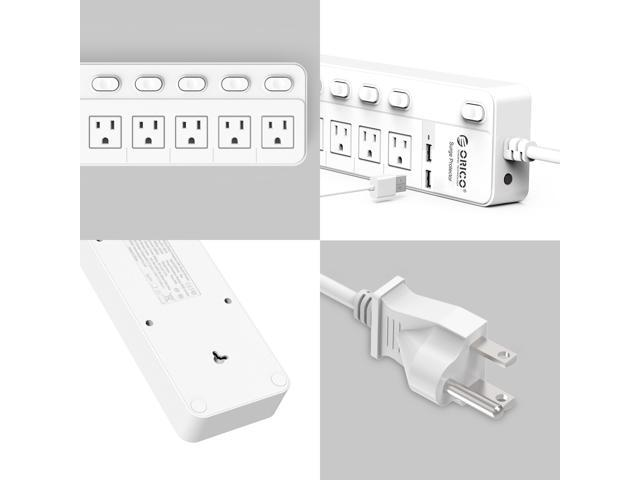 ORICO Portable Power Strip 5 Outlets 2 USB Ports Charging Station ( with Individual On/Off Switches ) for iphone7,6s,Plus,iPad,Home, Office,Nightstand & Workbench,1700 Joule - White