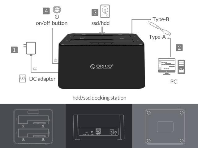 ORICO USB 3.0 to SATA Dual Bay External Hard Drive Docking Station for 2.5 or 3.5 inch HDD, SSD with Clone Function (8TB Support) - Black (6629US3-C-V1-US-BK)