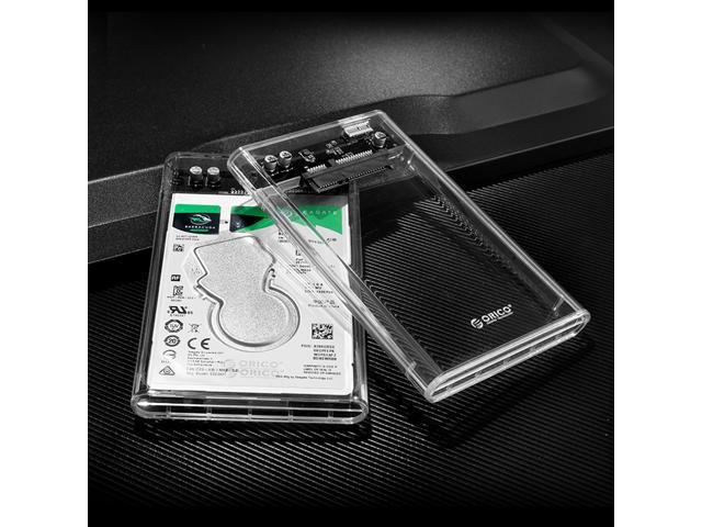 """ORICO Transparent USB 3.0 to SATA 3.0 2.5 inch""""  External Hard Drive Disk Enclosure Box USB 3.0 High-Speed Case for 2.5 inch HDD SSD Case Support UASP protocol SATA III Tool Free"""