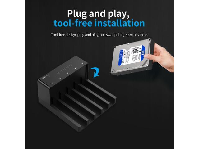 [Support 50TB] ORICO Tool-Free 2.5 & 3.5 in USB 3.0 to SATA External Hard Drive Enclosure HDD SSD Docking Station Horizontal Lay-Flat HDD Installation Design for 2.5 Inch & 3.5 Inch HDD SSD