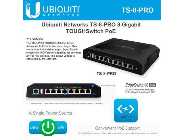 Ubiquiti TS-8-PRO-US 8-Port TOUGHSwitch PoE PRO Gigabit Switch 150W Power 8 devices