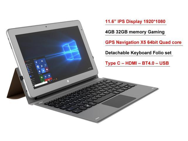 "11.6"" IPS intel Atom X5 8350 4GB 32GB EMMC 2 in 1 GPS Windows 10 Laptop tablet PC Free Bundle Keyboard Folio set"