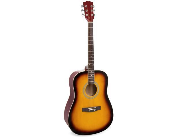 Best Choice Products 41in Full Size All-Wood Acoustic Guitar Starter Kit w/ Case, Pick, Strap, Extra Strings - Sunburst