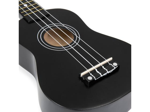 Best Choice Products Basswood Ukulele Starter Kit w/ Waterproof Case, Strap, Clip-On Tuner, Extra String - Black