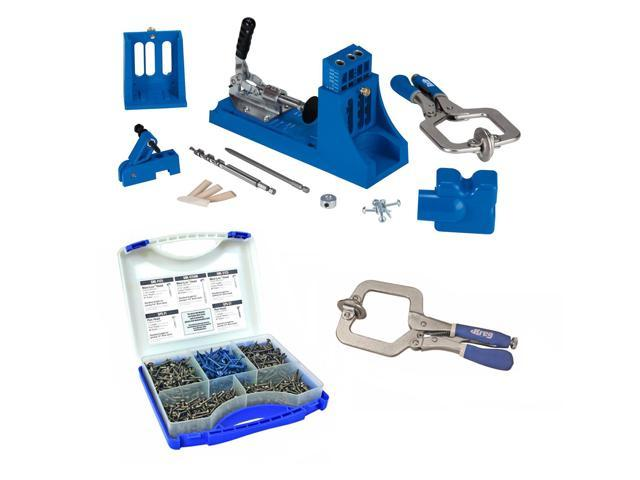 Kreg Jig Master System + Pocket-Hole Screw Kit in 5 Sizes + Large Face Clamp