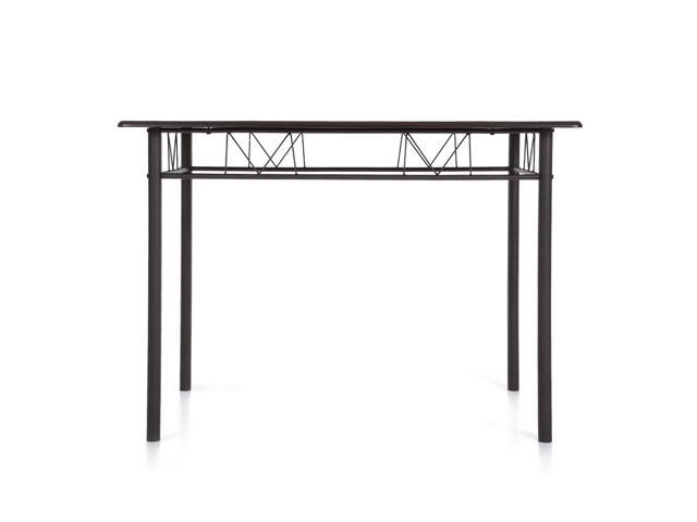 Ikayaa 5pcs Modern Metal Frame Dining Kitchen Table Chairs Set For 4 Person Kitchen Furniture