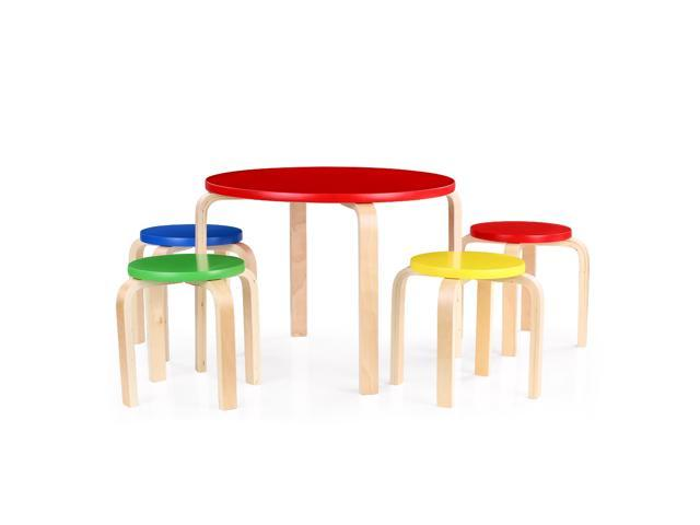 iKayaa Cute Solid Wood Round Kids Table and 4 Chairs Set Furniture ...