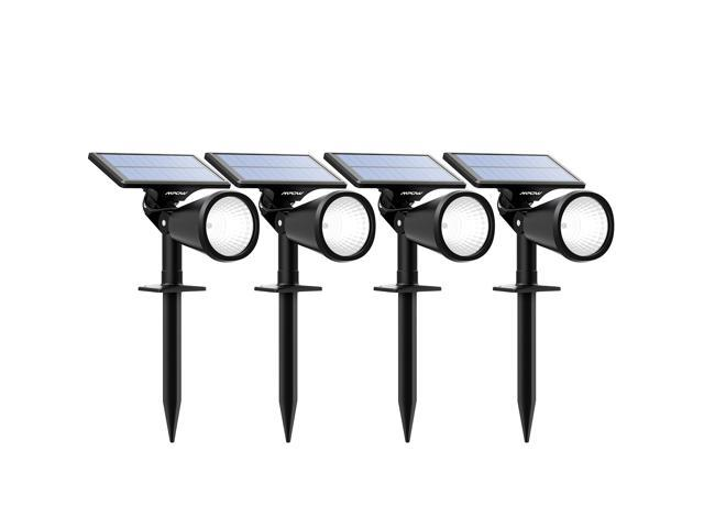 Mpow Solar Spotlight, 2-in-1 Solar Powered Outdoor Wall/In-ground Spotlight with Adjustable Solar Panel and 2 Brightness Levels for Driveway, Yard, Lawn, Pathway, Garden