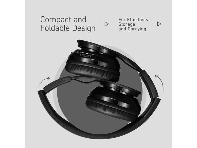 patazon wireless bluetooth headset with mic and wired mode foldable over ear headphones for pc. Black Bedroom Furniture Sets. Home Design Ideas