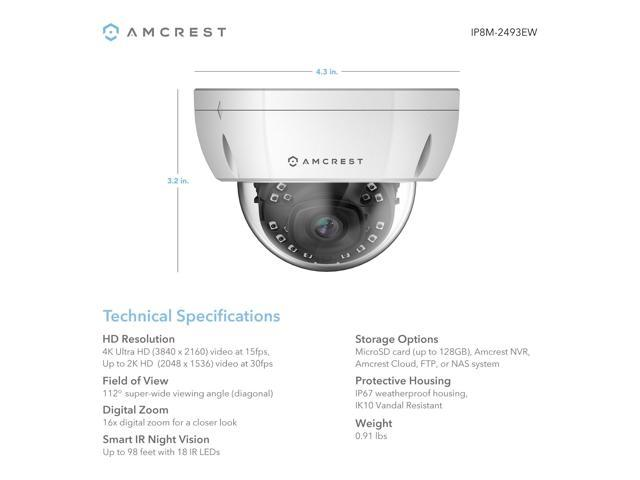 9cfab845d5bc Amcrest UltraHD 4K (8MP) Outdoor Security POE IP Camera