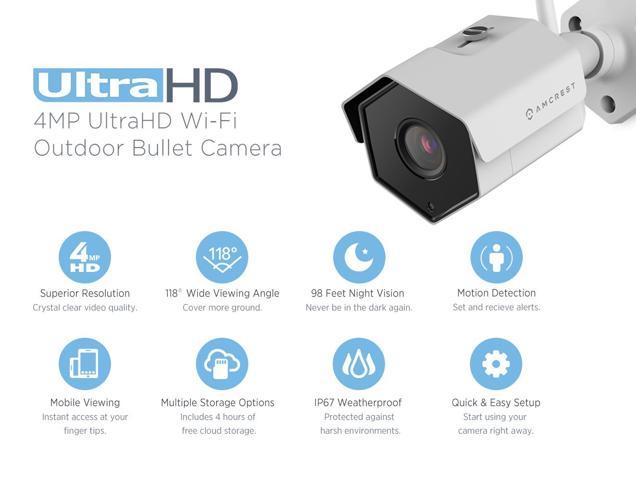 Amcrest 4MP IP Camera WiFi UltraHD Wireless Outdoor Security Camera Bullet - IP67 Weatherproof, 98ft Night Vision, 4-Megapixel (2688 TVL), IP4M-1026 (White)