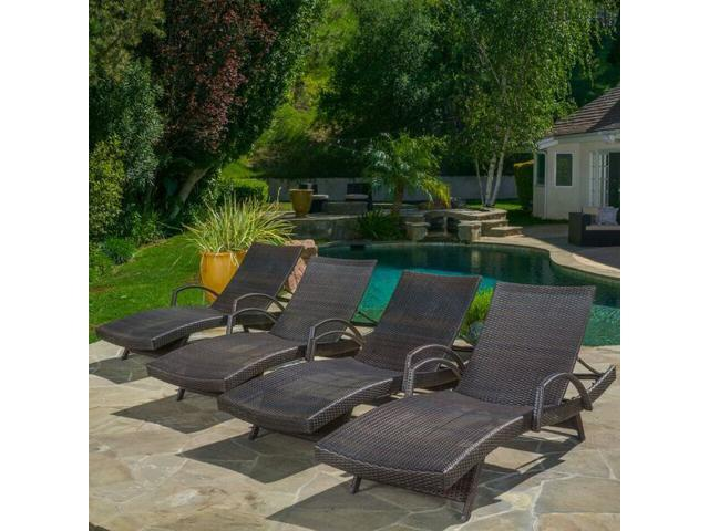 Christopher Knight Home Toscana Outdoor Wicker Armed Chaise Lounge Chair  (Set Of 4) ...