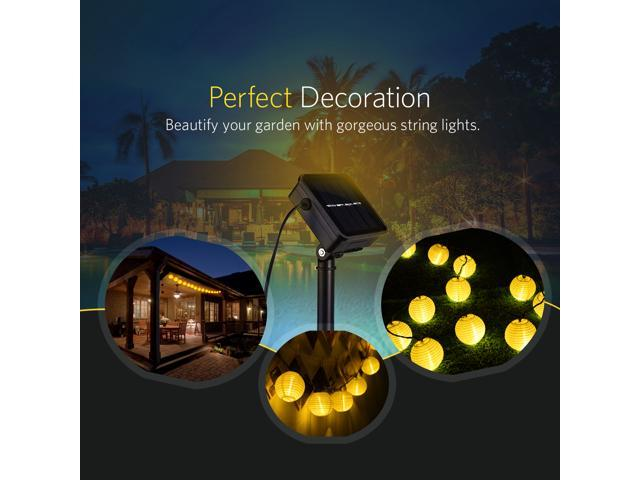 Solar String Lights, 20 LED Lantern Waterproof Ambient Lighting for Home, Garden Décor 14.3ft