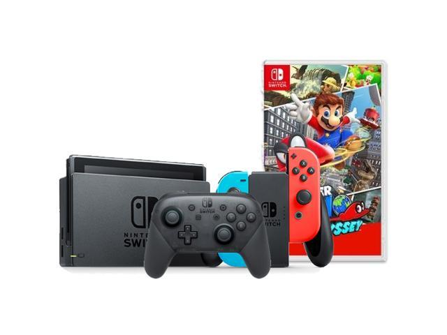 Nintendo Switch with Neon Blue and Neon Red Joy-Con + Nintendo Switch Pro Controller + Super Mario Odyssey