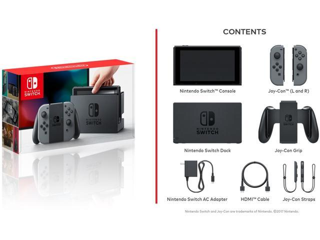 Nintendo Switch Console with Gray Joy-Con + Nintendo Switch Pro Controller + Super Mario Odyssey
