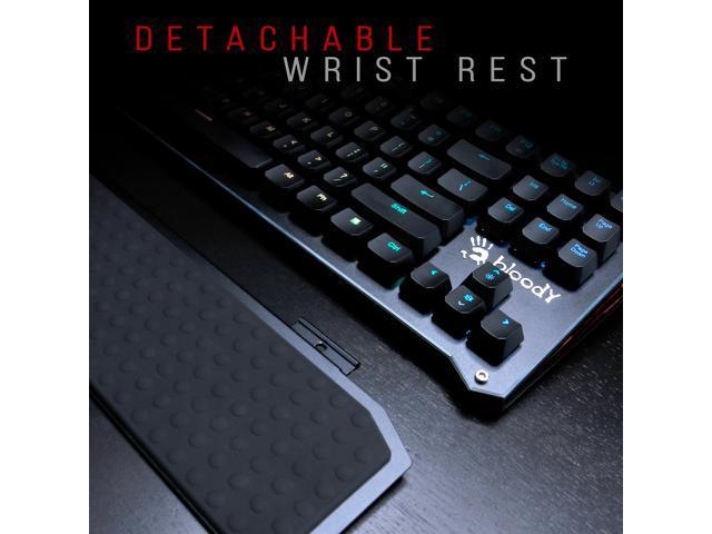 Bloody B945 Light Strike (LK Libra) Optical Gaming Keyboard with Aluminum Wrist Rest – Left Numpad - RGB LED Backlit - LK Brown Switch (Linear & Smooth)
