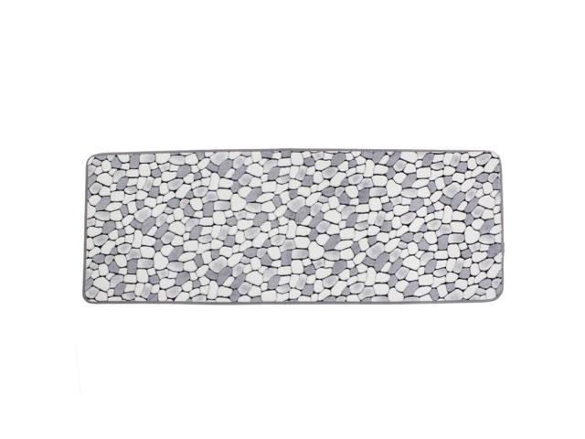 White Gray Cobblestone Patetrn Kitchen Antislip Doormat Floor Mat Area Rug Carpet