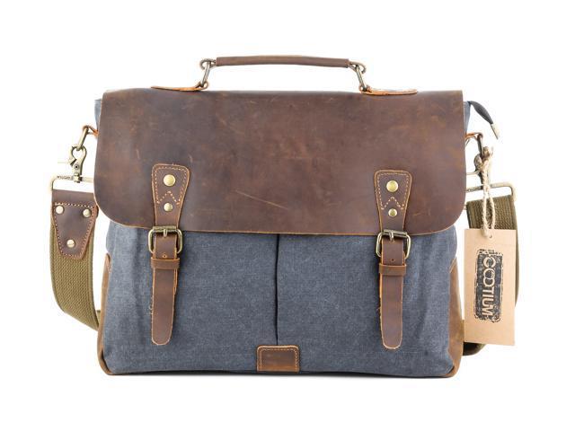 Gootium 21108GRY-L Vintage Canvas Real Leather Messenger Bag 15.6 ... 11d02a0dd00a0