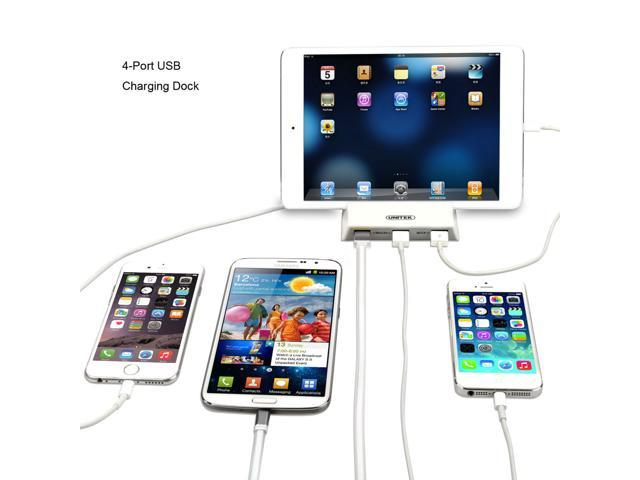 Quick Charge 2.0 UNITEK QC 2.0 36W 4-Ports USB Charger Desktop Charging Station + 12V3A Power Adaptor for Apple, iPad, iPhone 6s, Samsung Galaxy Tab, Google Nexus, LG, HTC [Qualcomm Certified]