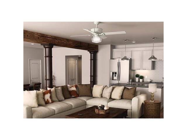 "Hunter 54176 Brunswick 60"" Ceiling Fan with Light, Fresh White, works with Ale"