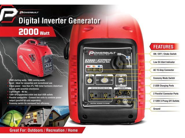 Powerbuilt 2000 Watt Portable Digital Inverter Parallel USB Generator - 941564