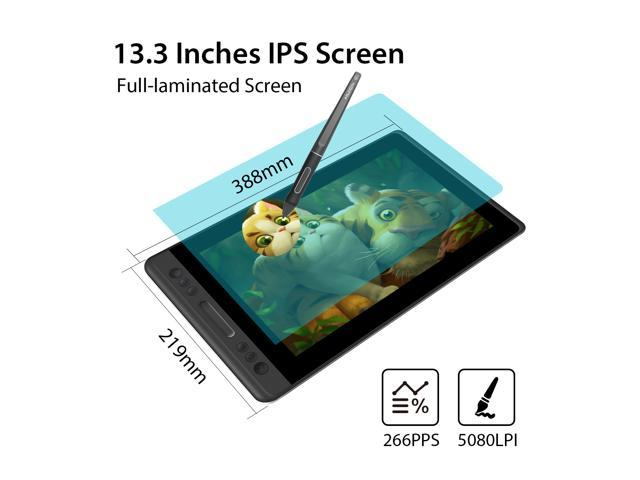 Huion KAMVAS PRO 13 13.3 inch - Battery-Free 8192 Levels Pen pressure with Tilt Function, 4 Express Keys and 1 Touch Bar - Upgraded 3-in-1 cable