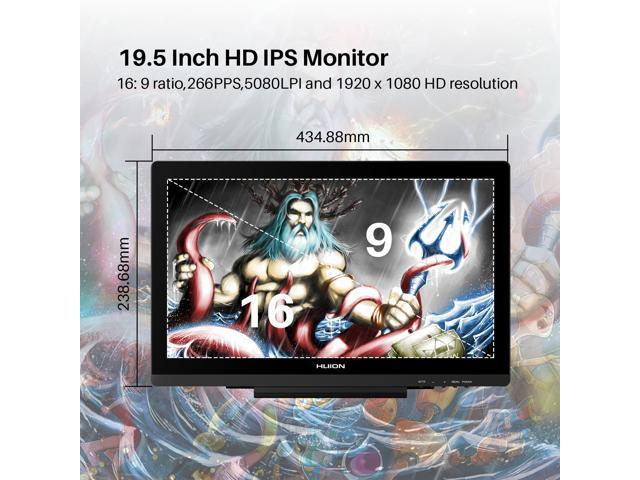Huion KAMVAS GT-191V2 Digital Graphics Drawing Monitor Battery-free Stylus 8192 Pen Pressure 19.5 Inch HD Pen Display for Windows and Mac PC