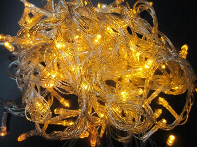 Yellow - 200 LED 50 ft Fairy String Lights Lamp for Christmas Tree Holiday Wedding Party Xmas Decoration Halloween Showcase Displays Restaurant or Bar and Home Garden - OEM