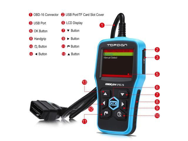 Topdon Ultrascan OBDCAN PLUS OBD2 Scan Tool Professional Car Diagnostic Scanner Universal OBDII Code Reader Car Fault Code Reader OBD2 Full Function with Mode 6 Better than the AUTEL AL519