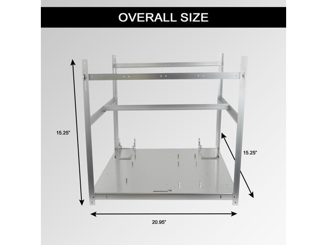 AAAwave - 6 GPU Stackable Aluminum Mining Frame Rig Case with Fan Mounts Ethereum Zcash Coin Mining Chassis