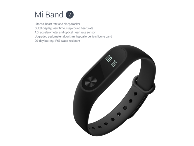 [HK Stock]Original International versions Xiaomi Mi Band 2 OLED Heart rate call IP67 Waterproof Smart Bracelet for Android iOS- Black+ free Protective Screen Films (2PCS)
