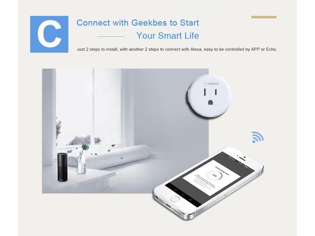 2-Pack Geekbes YM-WS-1 Smart Socket WiFi Mini Plug APP Remote Control Timing Socket Works with Alexa -White/US Plug