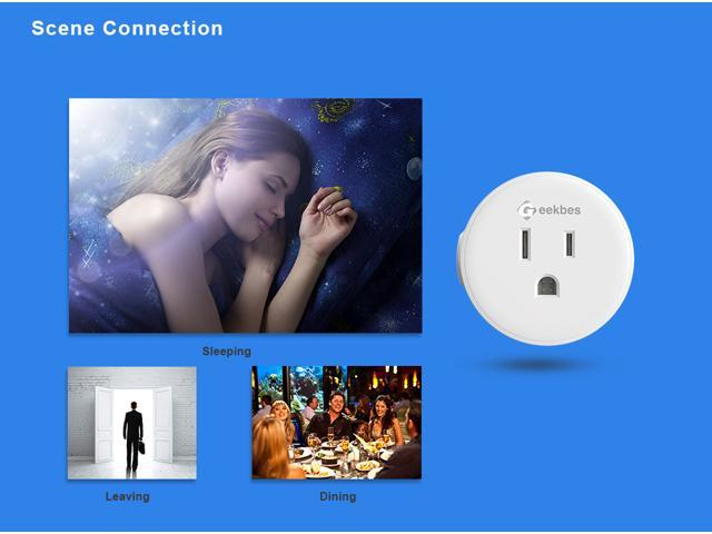3PCS Geekbes YM-WS-1 Smart Socket WiFi Mini Plug APP Remote Control Timing Socket Works with Alexa -White/US Plug