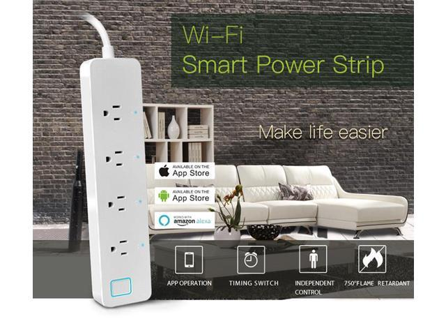 Geekbes Smart WiFi Strip Works with Alexa APP Remote Control Timing Switch -White/US Plug