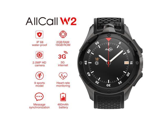 ALLCALL W2 3G Smartwatch Phone Android 5.1 MTK6580 Quad Core 1.3GHz 2GB RAM 16GB ROM GPS Bluetooth 4.0