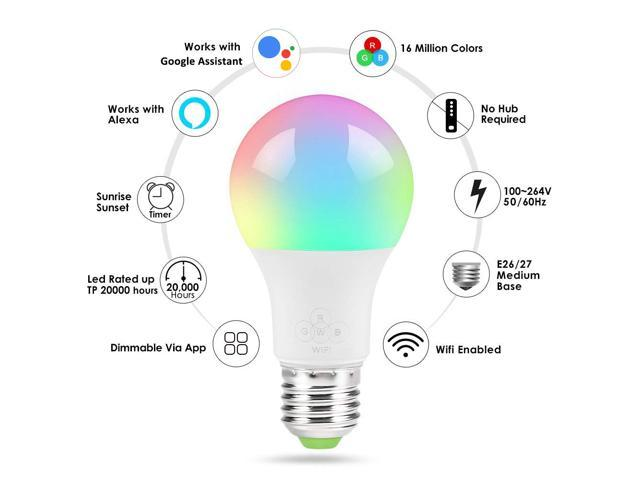 Geekbes LED E26 Bulb Smart WiFi Bulb APP Control 1600W RGB Color Light Works with Alexa and Google Home- White