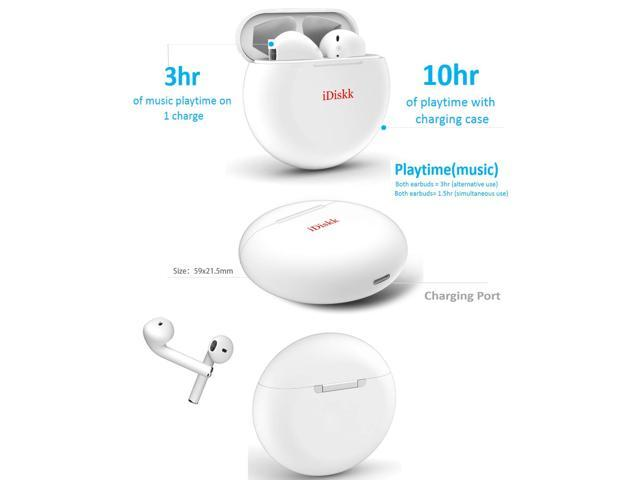 iDiskk i51 TWS Bluetooth 5.0 Wireless earphone Binaural earbuds Support for ios& Android phone-White