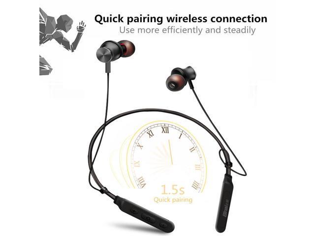 Binai B22S Neckband Wireless Bluetooth Earphone Magnetic Sports Waterproof - Black