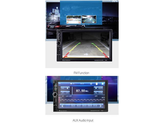 7060 7 Inch Digital TFT Touch Screen Car Multimedia Player Audio Stereo MP5 Player 1080P Video Format FM function- Black