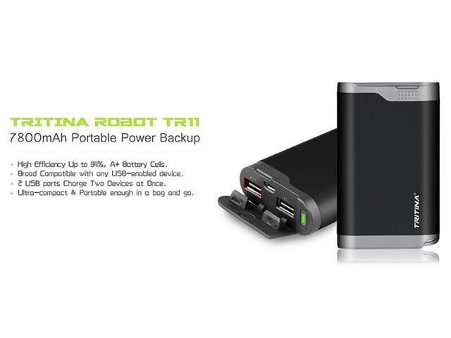 Tritina Portable Power Bank 7800mah Rainproof Dust Proof Cover Dual USB Port External Battery Charger, LCD Indicator,for Apple Iphone, Ipad, Samsung Galaxy and Other Cell Phones and Tablets--- (Black)