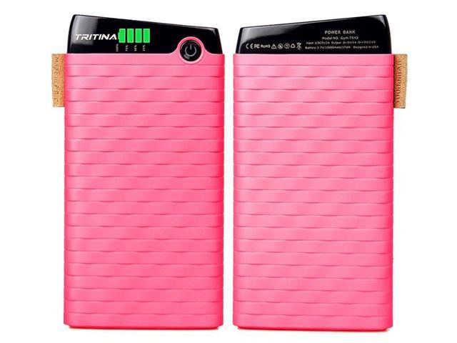 Tritina Bank Power 10000mah Slim and Light Top Grade External Polymer Battery Cell,Anti Fire Case,Dual-port Input 2.1a, Output 3.1a, LCD Indicator,for iphone,Samsung and More(Pink)