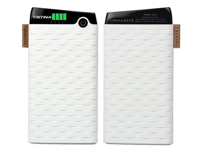 Tritina Bank Power 10000mah Slim and Light Top Grade External Polymer Battery Cell,Anti Fire Case,Dual-port Input 2.1a, Output 3.1a, LCD Indicator,for iphone,Samsung and More(White)