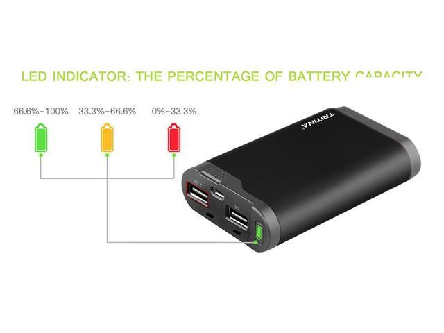 Tritina Portable Power Bank 7800mah Dual USB Port External Battery Charger, LCD Indicator,for Apple Iphone, Ipad, Samsung Galaxy and Other Cell Phones and Tablets--- (Black)